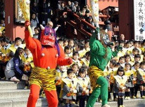 A bean-throwing ceremony to drive away evils during the annual Setsubun festival at Tokyo's Sensoji Temple.